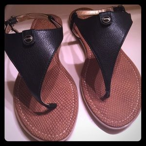 Black Leather sandals brown sole